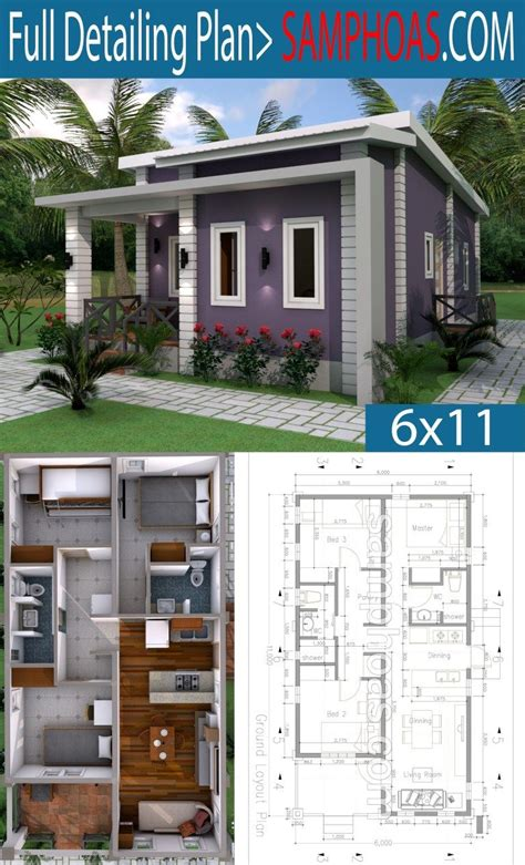 Low Budget 3 Bedrooms Home Plan 6x11 Simple house design
