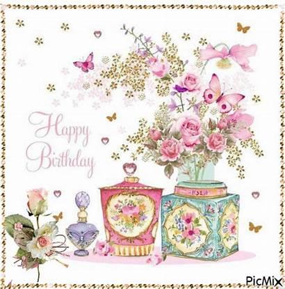 Birthday Box Tin Animation Happy Flower Cards