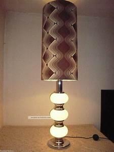Lampenschirm Stehlampe Glas : space age xxl tischlampe stehlampe glas fu mit chrom 70er jahre ~ Indierocktalk.com Haus und Dekorationen