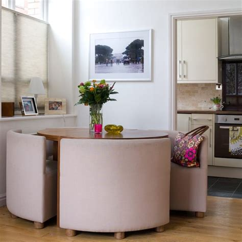 compact dining table and colourful apartment