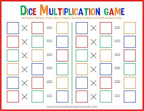 ellabella designs dice multiplication math game for kids free printable