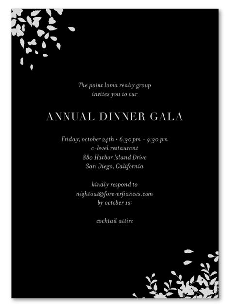 Black Tie Gala Invitations Romance on 100% premium