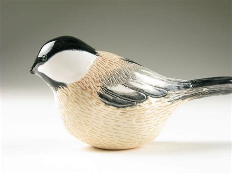 black capped chickadee pottery song bird sold on etsy