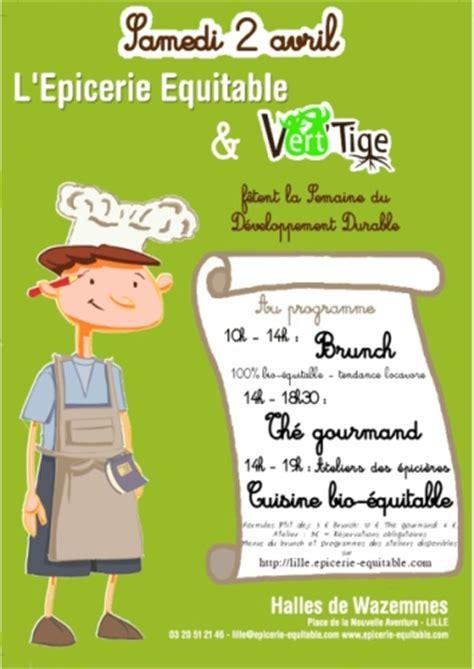 affiche atelier cuisine samedi 2 avril dans les halles de wazemmes brunch tea bio et ateliers cuisine le