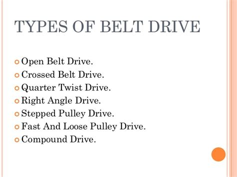 Types Of Belt Drives