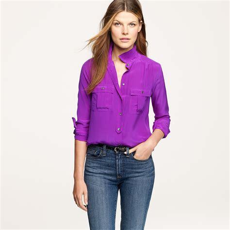 jcrew blouses j crew blythe blouse in silk in purple purple lyst