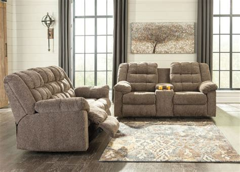 ashley workhorse cocoa reclining loveseat  console
