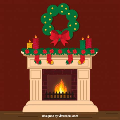 lovely chimney  christmas decoration vector