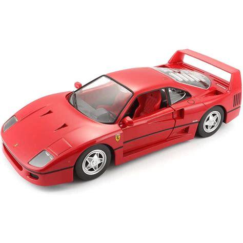 By burago;1:18 scale diecast, red; Burago Ferrari F40 1/24 DieCast Model - The Model Shop