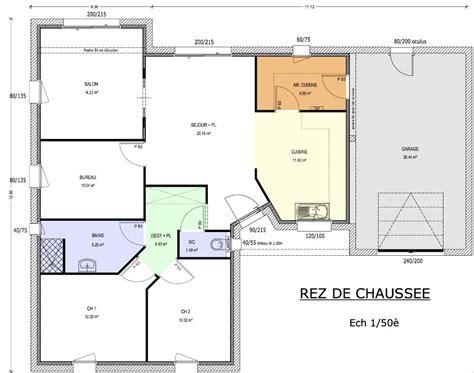 modèle plan maison 3 chambres plan de maison 90m2 3 chambres