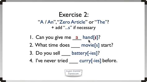 Articles A, An, The (2) Exercise 2 Youtube
