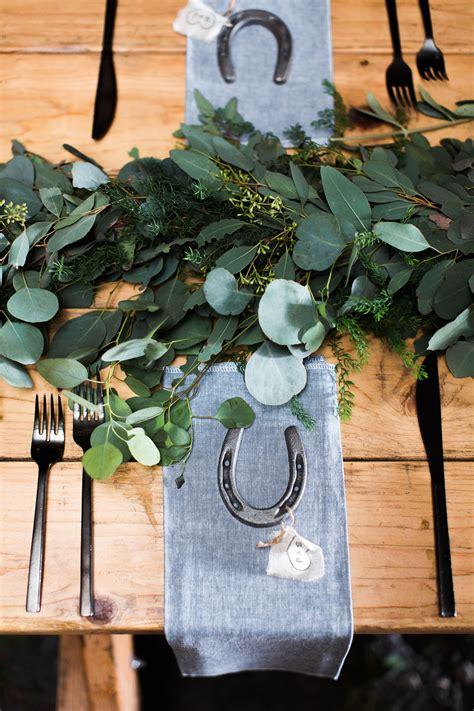 simple eucalyptus centerpiece garland horseshoe favors