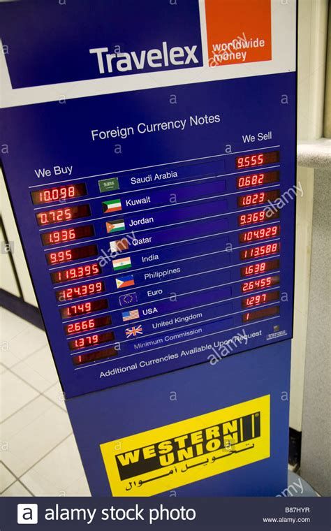 bureau de change travelex display of exchange rates at a bureau de change operated