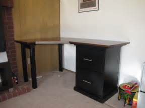 simple modern computer desk design with black accent combined drawers and file shelves also