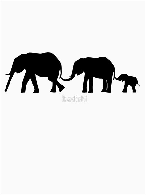 Silhouettes of 3 Elephants Holding Tails | Slim Fit T