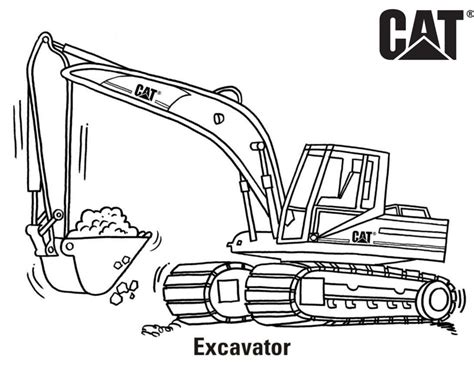 Coloring Excavator by Excavator Coloring Page Comfy Pages Print