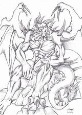 Demon Coloring Drawings Nidhogg Dragon Drawing Colouring Printable Deviantart Sketches Adult Grown Ups Adults Dark Monster Werewolf Anthro Google Tattoo sketch template