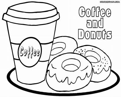 Coloring Coffee Pages Printable Donut Colouring Colorings