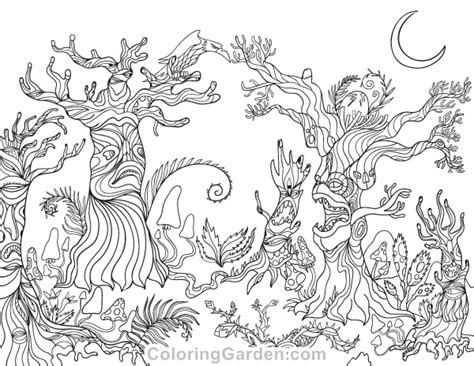 spooky forest adult coloring page