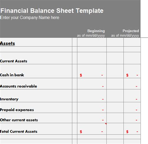 financial balance sheet template  excel templates