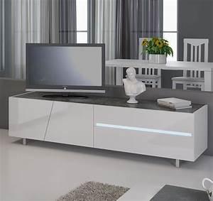 Meuble TV Blanc Laqu Avec Clairage LED Intgr Design JOSHUA