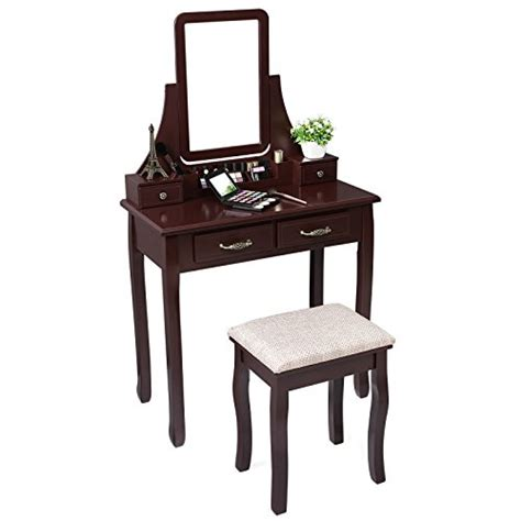 vanity table and stool songmics vanity makeup table set with mirror and stool