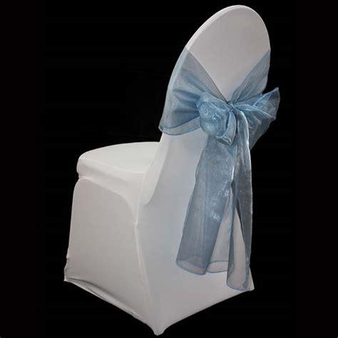 light blue organza chair sash the tablecloth hiring company