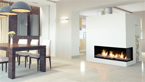 flare  corner modern fireplace linear fireplace