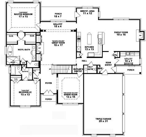 4 bedroom 2 bath house plans 653736 two 4 bedroom 3 5 bath traditional