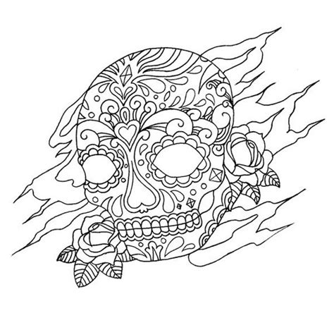 Tattoo Coloring Pages Skull