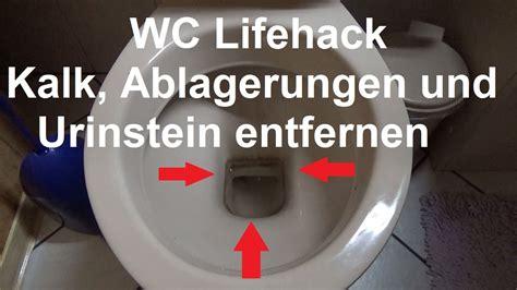 hartnaeckige kalkflecken urinstein entfernen toilette wc