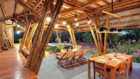 desain interior rumah  bambu youtube