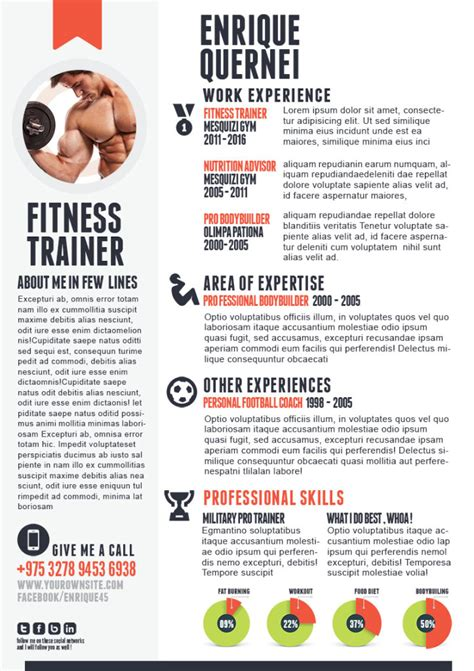 Fitness Resume by Fitness Trainer Resume Templates For Cv