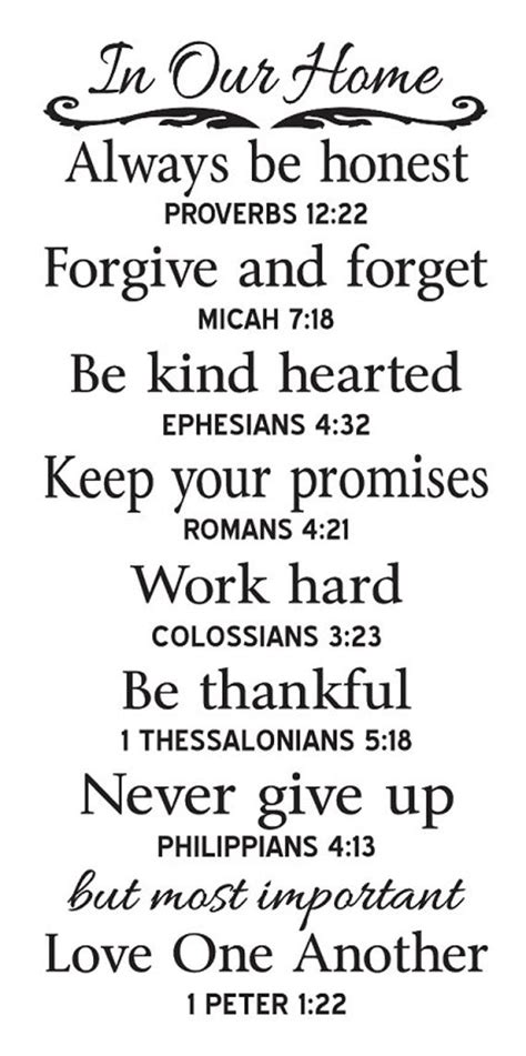"""Though there are not a lot of quotes that speak of the entire immediate family in one passage, there are some. Primitive STENCIL **In Our Home** Family Rules with Bible Verses Large 12""""x24"""" for Painting ..."""
