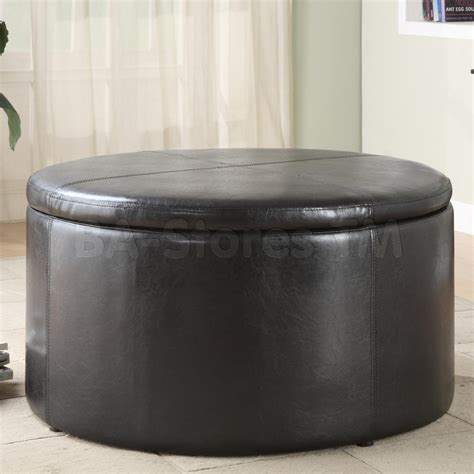 round ottoman coffee table maximizing small living room spaces using black color