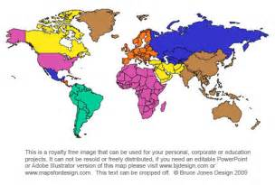 World Map Continents Printable