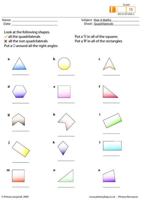 Coloring Quadrilaterals by Quadrilaterals Primaryleap Co Uk