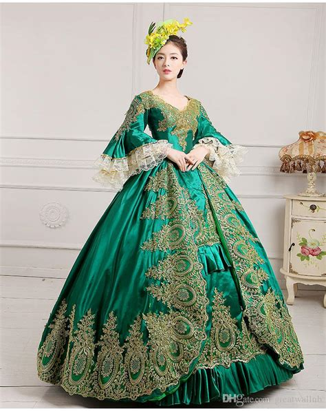 luxury green embroidery golden lace medieval dress