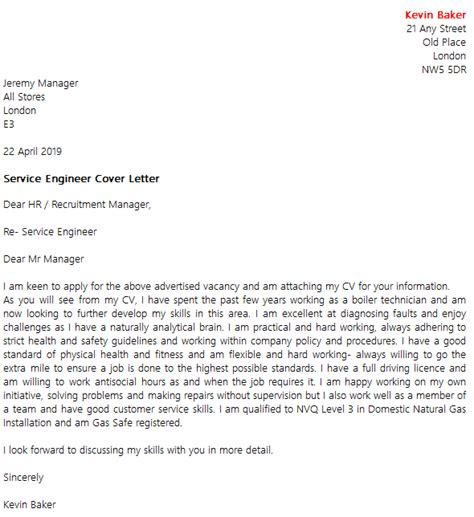 Service Engineer Cover Letter by Service Engineer Cover Letter Exle Icover Org Uk