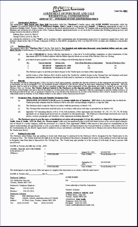 homes sample document purchase agreement condo