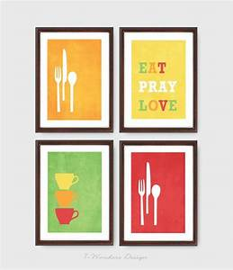 Modern kitchen wall art print set inspirational by for Kitchen colors with white cabinets with cheap inspirational canvas wall art