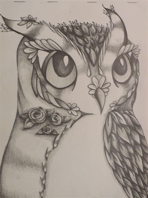 beautiful flower owl  original pencil drawing