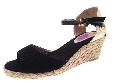 Womens Strappy Peeptoe Hessian Wedge Sandals Ladies Summer