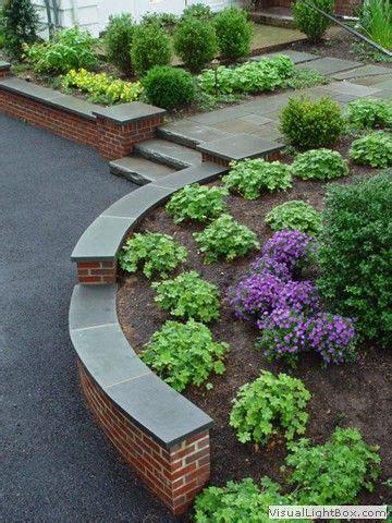 brick retaining wall design ideas rock fence designs curved brick retaining wall with front yard plantings stone slab steps