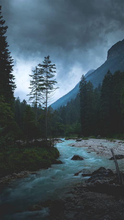 np mountain wood night dark river nature wallpaper