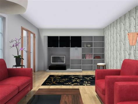 Living Room w Wallpaper Accent Wall   Roomsketcher Blog