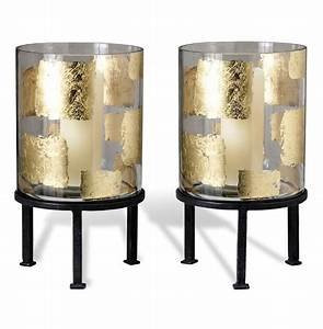 Pair Modern Gold Leaf Large Floor Hurricane Candle Holders ...