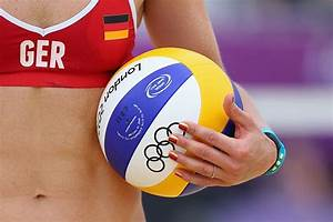 Laura Ludwig of Germany holds the ball during the Women's ...
