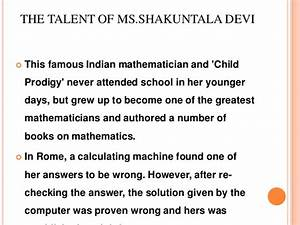 Shakuntala devi – the human computer