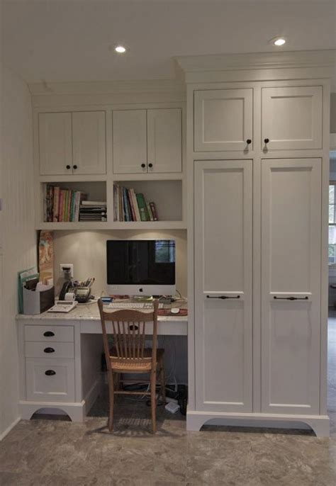 how to make a desk out of kitchen cabinets white built in for office built in office in the kitchen 9916